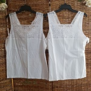 2 NWT Cuddl Duds Camisoles White W/ Lace